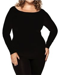 Skinnytees - Plus Long Sleeve Boatneck - Lyst