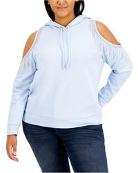 INC International Concepts Inc Plus Size Cold-shoulder Fringed Hoodie, Created For Macy's - Blue
