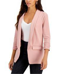 Bar Iii Solid Knit 3/4-sleeve Boyfriend Blazer, Created For Macy's - Pink