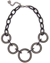 "Zenzii Crystal Circle Link Collar Necklace, 19"" + 2"" Extender - Black"