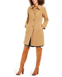Anne Klein Single-breasted Club-collar Coat - Natural