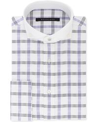 Sean John - Big And Tall Classic/regular Fit Grey And Purple Check French Cuff Dress Shirt - Lyst