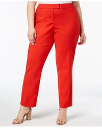 Anne Klein - Plus Size Tab-front Straight-leg Trousers - Lyst