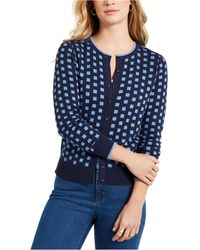 Charter Club Geometric Button-front Cardigan, Created For Macy's - Blue
