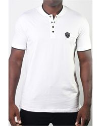 Members Only Teddy Collar Metal Button Polo - White