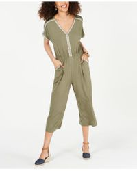 Style & Co. Petite Embroidered Cropped Jumpsuit, Created For Macy's - Green