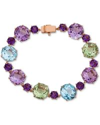 Macy's Multi-gemstone Statement Bracelet (51-7/8 Ct. T.w.) In 14k Rose Gold-plated Sterling Silver - Metallic
