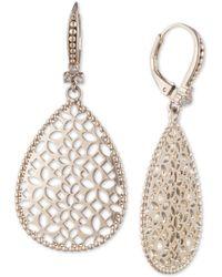Marchesa Filigree White Goldtone & Crystal Drop Earrings - Metallic