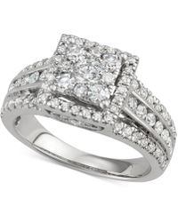 Macy's - Diamond Square Cluster Halo Engagement Ring (1-1/2 Ct. T.w.) In 14k White Gold - Lyst