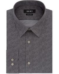 DKNY - Slim-fit Performance Stretch Gray Print Dress Shirt - Lyst