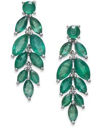 Macy's - Emerald Vine-inspired Drop Earrings (5-1/4 Ct. T.w.) In Sterling Silver - Lyst