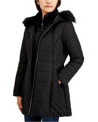 Maralyn & Me Juniors' Hooded Faux-fur-trim Bib Puffer Coat - Black