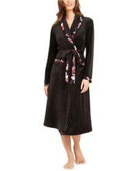 Sesoire Long Fleece Wrap Robe - Black