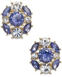 Charter Club - Gold-tone Blue & Clear Crystal Stud Earrings - Lyst