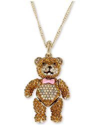 "Betsey Johnson - Gold-tone Crystal Teddy Bear Pendant Necklace, 31"" + 3"" Extender - Lyst"