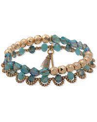 Lonna & Lilly Gold-tone 2-pc. Set Beaded Stretch Bracelets - Green