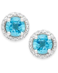 Macy's - Blue Topaz (1-3/4 Ct. T.w.) And Diamond Accent Halo Stud Earrings In 14k White Gold - Lyst