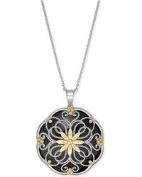 """Macy's - Onyx Filigree Floral Disc 18"""" Pendant Necklace In Sterling Silver & 14k Gold - Lyst"""