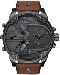 DIESEL - Chronograph Mr. Daddy 2.0 Brown Leather Strap Watch 57mm - Lyst
