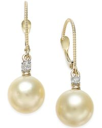 Macy's - Cultured Golden South Sea Pearl (9mm) And Diamond (1/10 Ct. T.w.) Drop Earrings In 14k Gold - Lyst