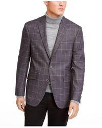 Kenneth Cole Reaction Slim-fit Stretch Grey Windowpane Sport Coat