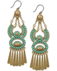 Lucky Brand - Gold-tone Stone Statement Earrings - Lyst
