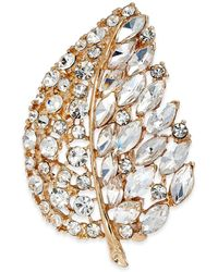 Charter Club Gold-tone Crystal Leaf Boxed Pin, Created For Macy's - Metallic