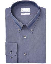 Lucky Brand Slim-fit Performance Stretch Indigo Solid Chambray Dress Shirt - Blue