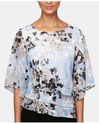 Alex Evenings - Printed Tiered Chiffon Top - Lyst