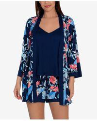 Linea Donatella Floral-print 3pc Pyjama Set - Blue