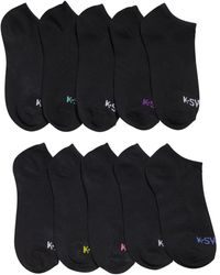 K-swiss Ladies Ankle Low Cut Sports Running Cushioned Athletic Socks, 10 Pack - Black