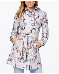 Guess Floral Double-breasted Water-resistant Trench Coat - Multicolor