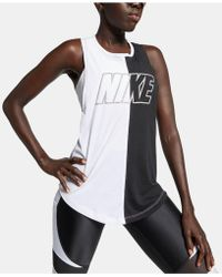 19474006 Lyst - Nike Dri-fit Racerback Graphic Tank Top in Black