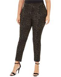 Calvin Klein Plus Size Leopard-print Leggings - Black