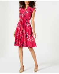 Charter Club Petite Floral-print A-line Dress, Created For Macy's - Pink