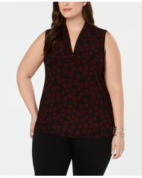 Anne Klein - Plus Size Printed Pleated V-neck Top - Lyst