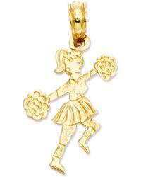 Macy's - 14k Gold Charm, Cheerleader With Pom-poms Charm - Lyst