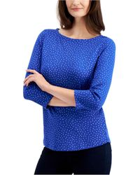 Charter Club Cotton Metallic-dot 3/4-sleeve Top, Created For Macy's - Blue