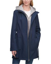Tommy Hilfiger Hoodie-lined Belted Raincoat - Blue