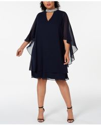 298c1c3f51b Xscape Embellished Chiffon Overlay Jersey Sheath Dress in Purple - Lyst