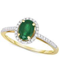 Macy's - Emerald (3/4 Ct. T.w.) & Diamond (1/6 Ct. T.w.) Ring In 14k Gold - Lyst