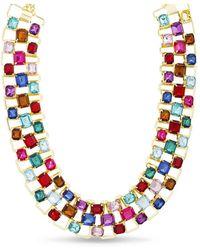 Kensie Rhinestone Baguette Bib Necklace - Red