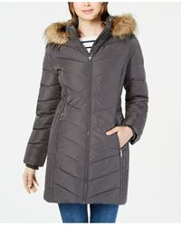 Tommy Hilfiger Chevron Faux-fur Trim Hooded Puffer Coat, Created For Macy's - Gray