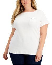 Karen Scott Plus Size Utility Pocket T-shirt, Created For Macy's - White