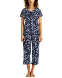 Charter Club Cotton Capri Pajama Set, Created For Macy's - Blue