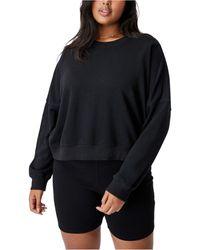 Cotton On Trendy Plus Size Harper Crew Crop Pullover - Black