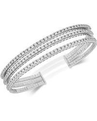 Macy's Diamond Triple-band Bangle Bracelet (2-3/8 Ct. T.w.) In 14k White Gold - Metallic