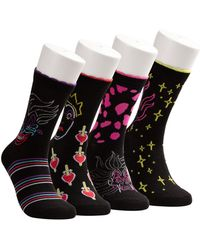 Disney ® 4-pk. Villains Neon Lights Crew Socks - Black