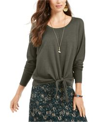 Style & Co. Tie-hem Sweater, Created For Macy's - Green