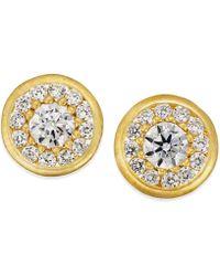 Macy's | Cubic Zirconia Circle Stud Earrings In 10k Gold | Lyst